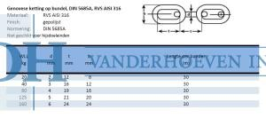 Genovese ketting DIN 5685a rvs aisi 316